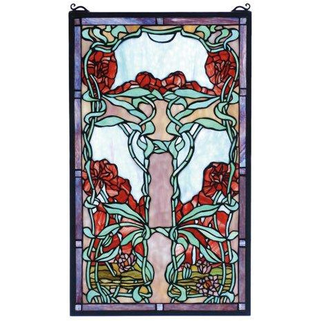 Nouveau Lily Stained Glass Window- Free Shipping