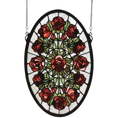 Oval Rose Garden Stained Glass Window- Free Shipping
