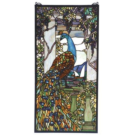 Tiffany Peacock Wisteria Stained Glass Window- Free Shipping