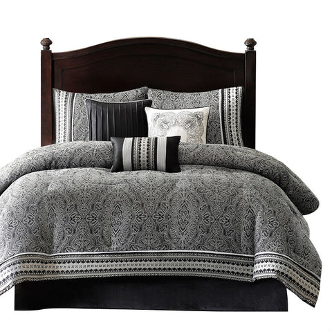 California King size 7-Piece Comforter Set in Black White Luxury Damask