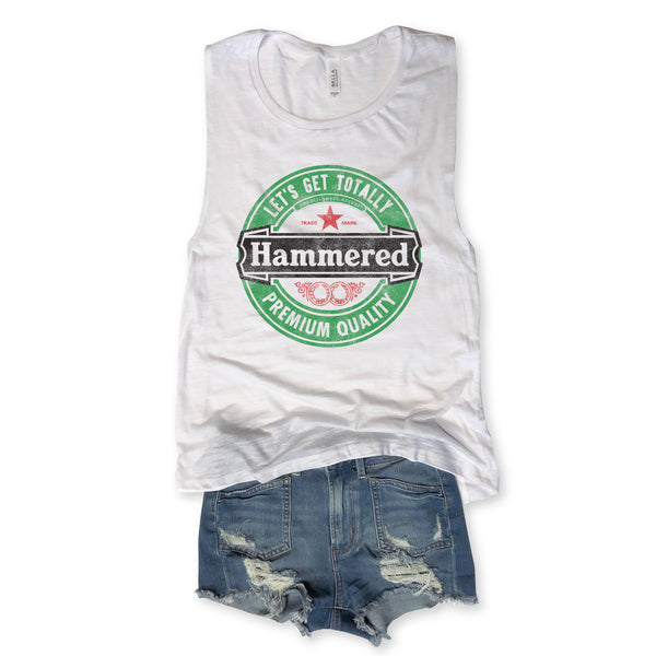 SALE! Let's Get Totally Hammered...Funny White Slub Muscle Tee