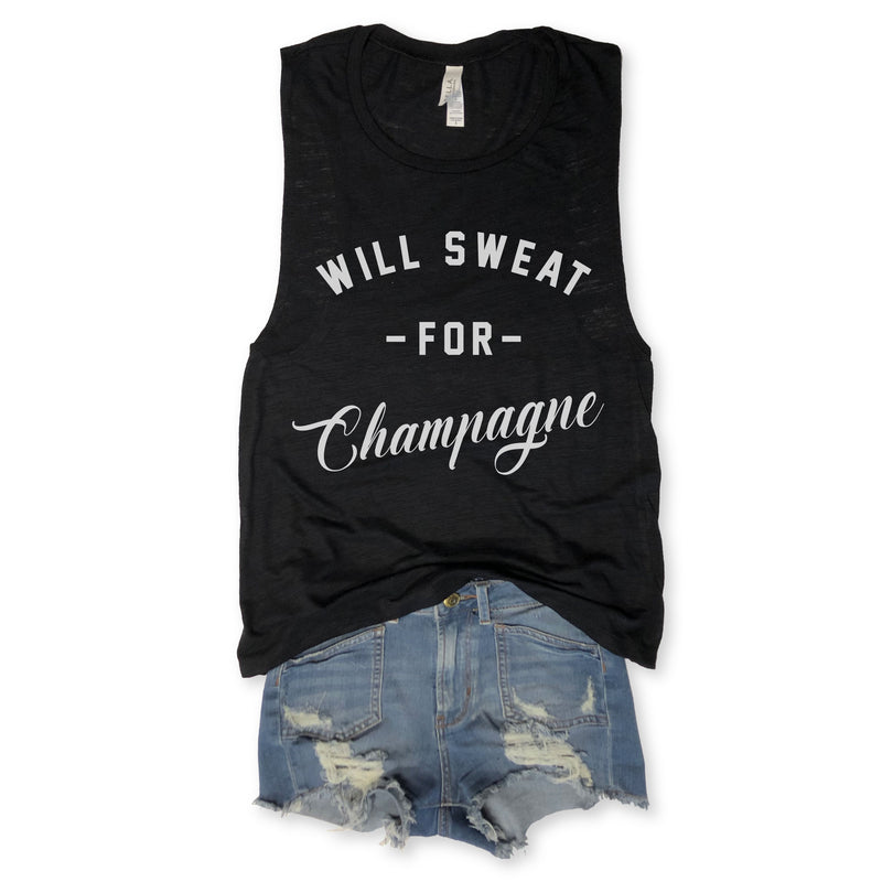 SALE! Will Sweat For Champagne Black Slub Muscle Tee
