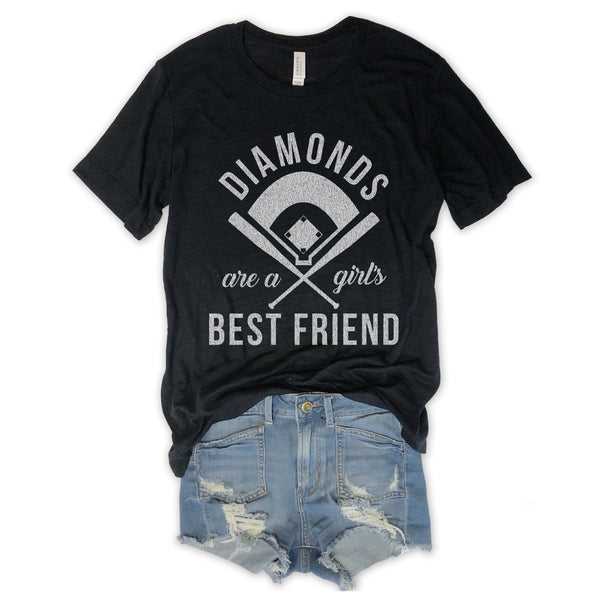 BASEBALL Diamonds Are A Girl's Best Friend Black Unisex Triblend Tee