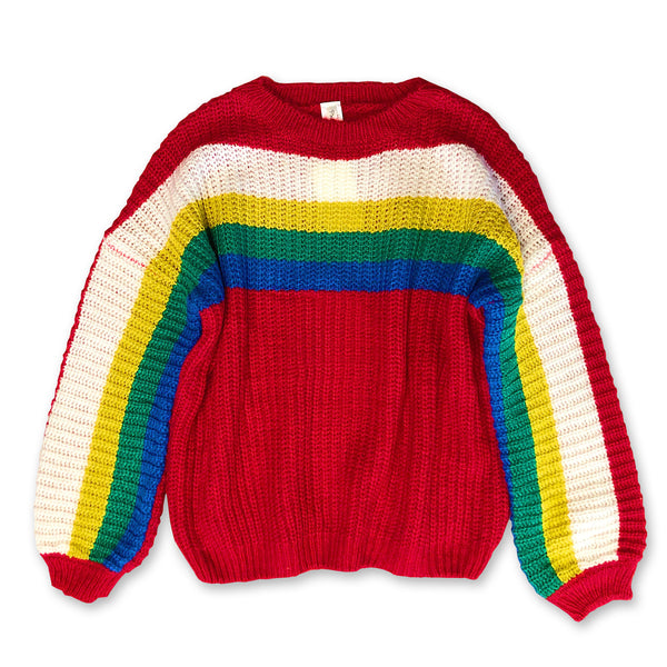 Retro Rainbow Color block Sweater - One Size
