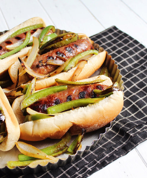 Grilled Bratwurst with Green Peppers and Onions
