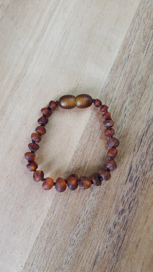 Raw Cognac Amber Anklet