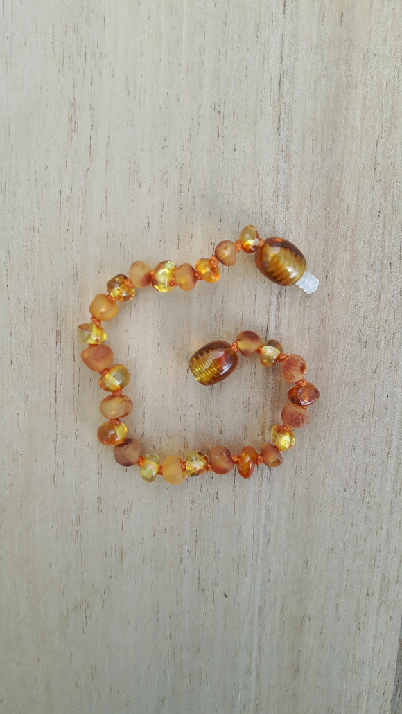 Mixed Honey Polished and Raw Amber Anklet
