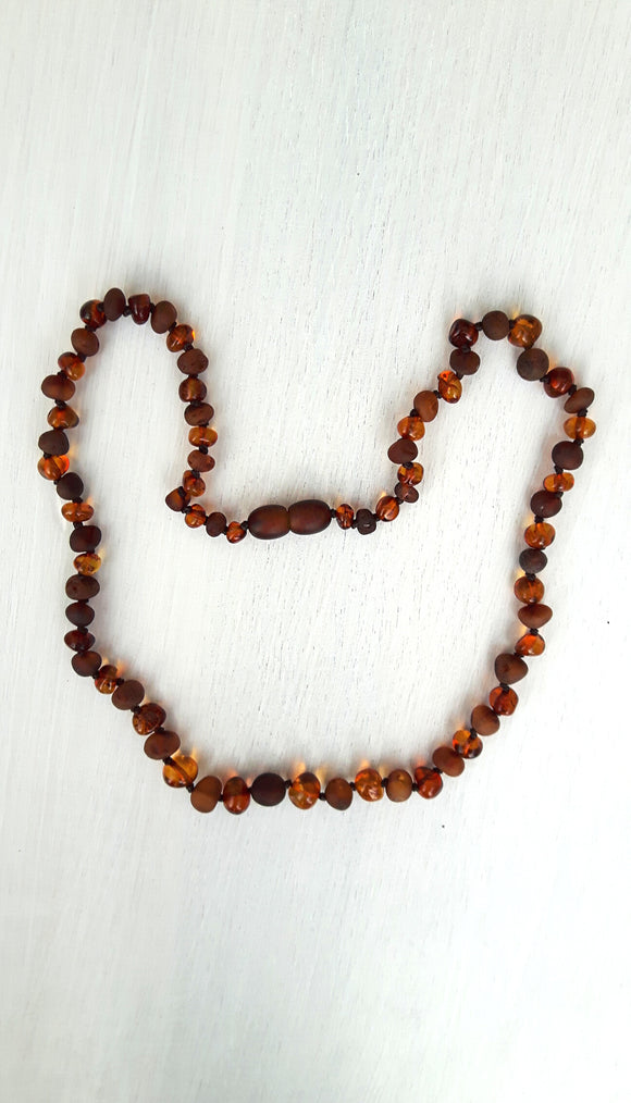 Adult Mixed Polished and Raw Cognac Amber Necklace