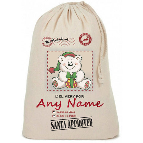Polar Bear in Box Personalised Christmas Sack - Awareness for DIPG - Free Postage