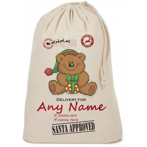 Teddy Bear Cute Personalised Christmas Sack - Awareness for DIPG - Free Postage