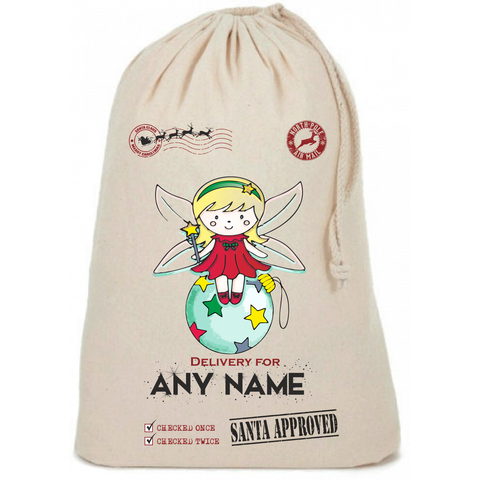 Fairy on Colour Bauble Personalised Christmas Sack - Awareness for DIPG - Free Postage