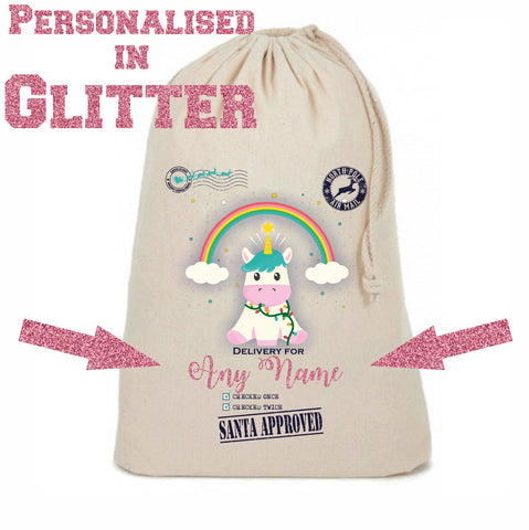 Glitter Personalised Unicorn Christmas Sack - Awareness for DIPG - Free Postage