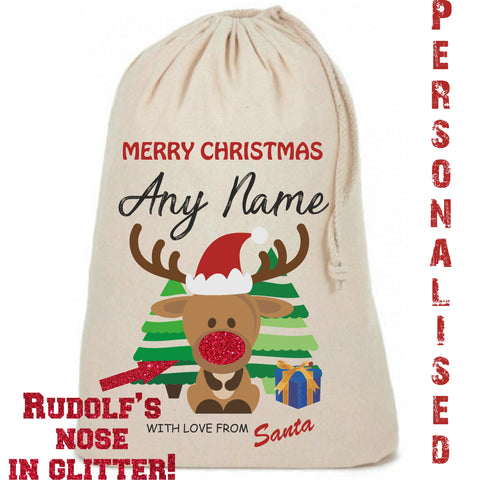 Glitter Nose Personalised Reindeer Cute Christmas Sack - Awareness for DIPG - Free Postage