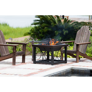 FIRE SENSE Hammer Tone Bronze Finish Cocktail Table Fire Pit - Fireplace Features