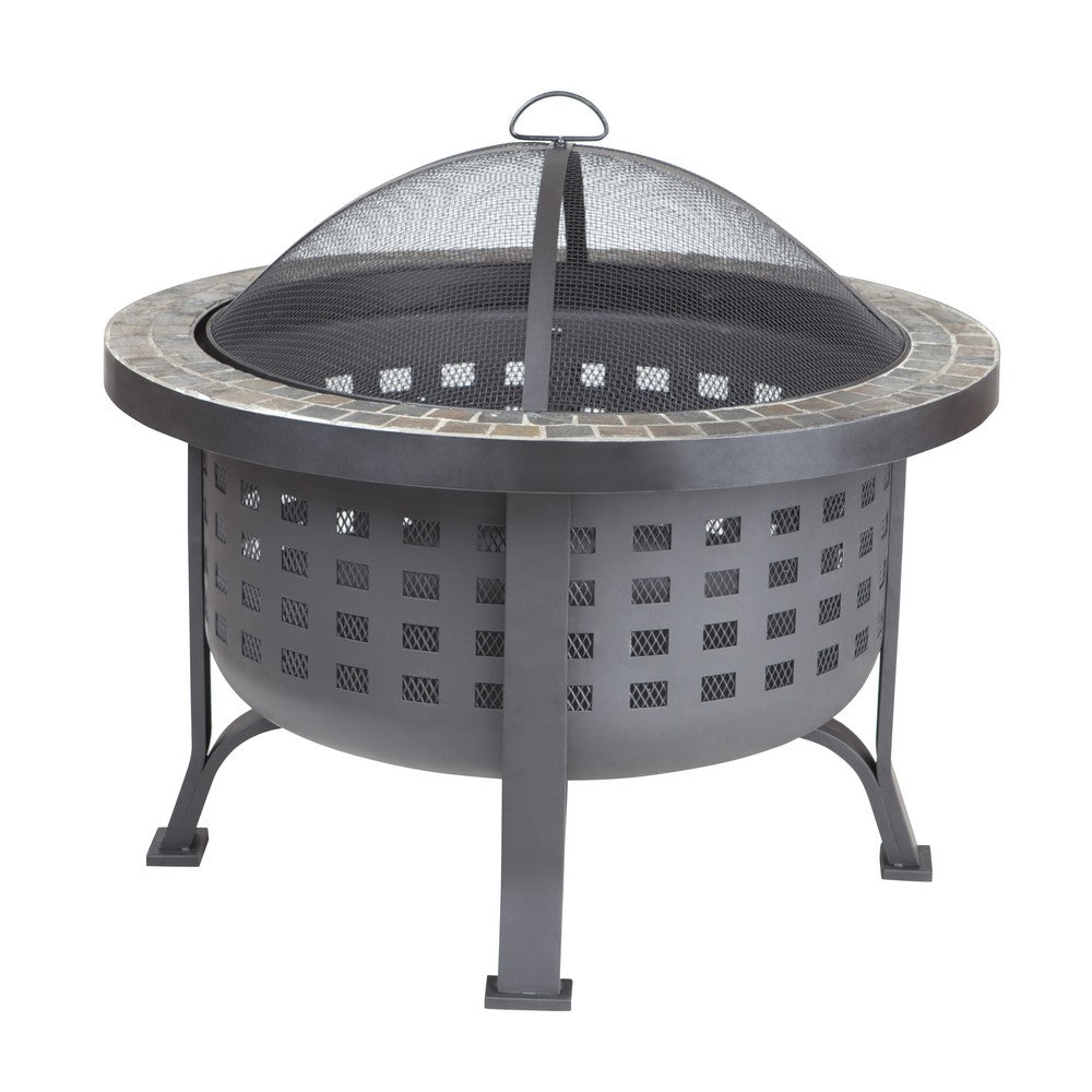 FIRE SENSE Alpina Round Slate Top Fire Pit - Fireplace Features