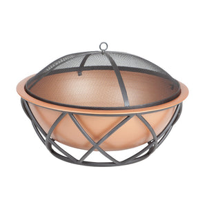 FIRE SENSE Barzelonia Round Copper Look Fire Pit - Fireplace Features