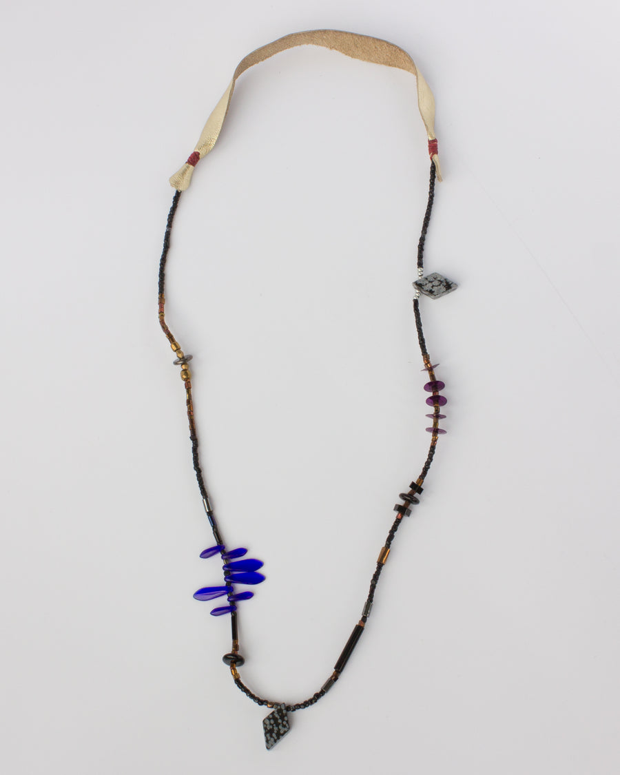 OOAK Hand Strung Necklace <br> Leather & Beads