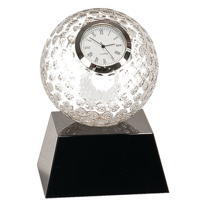 Clear Crystal Golf Ball Clock with Black Pedestal Base- 5""