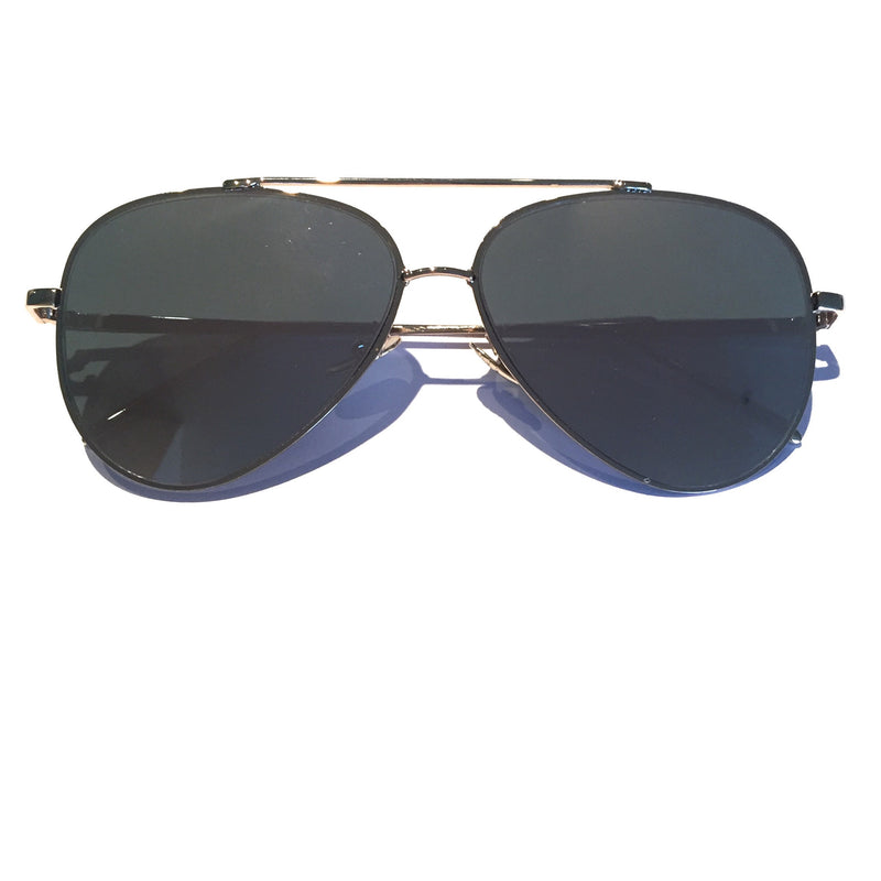 Glossy gold metal frame, aviator style with pink mirror lenses. Perverse. Aviator sunglasses