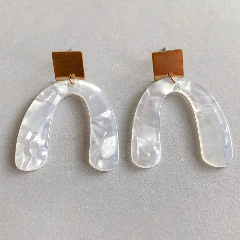 mini white earrings, under $20 earrings, playful earrings, post back closure, fashion jewelry, fashion accessories, gold earring