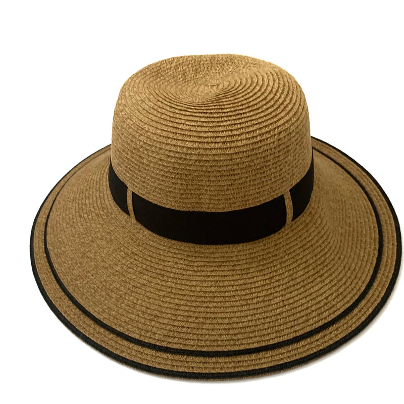 hat is UPF 50+. Only 1/50 of the sun's UV radiation can penetrate this fabric. Blocks UVA and UVB.   Hat has a bow in the back and has fabric in the body to fit all sizes.   88% paper and 12% polyester.