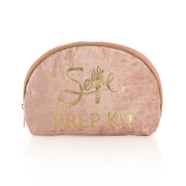 Pink makeup pouch with gold writing.  L 7