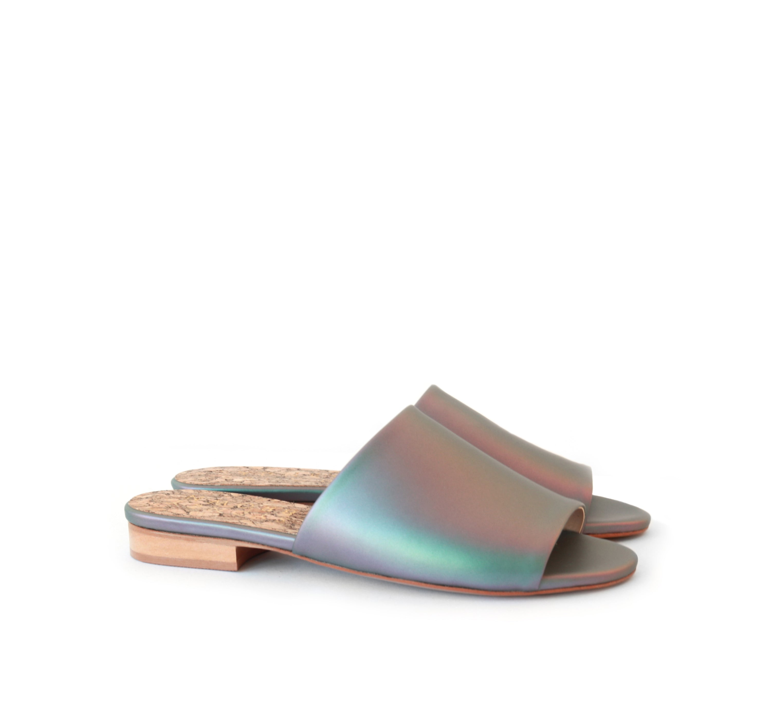 Flat slides in iridescent faux-nappa by Sydney Brown shoes. Vegan, cruelty-free, non-leather, sustainable & ethical