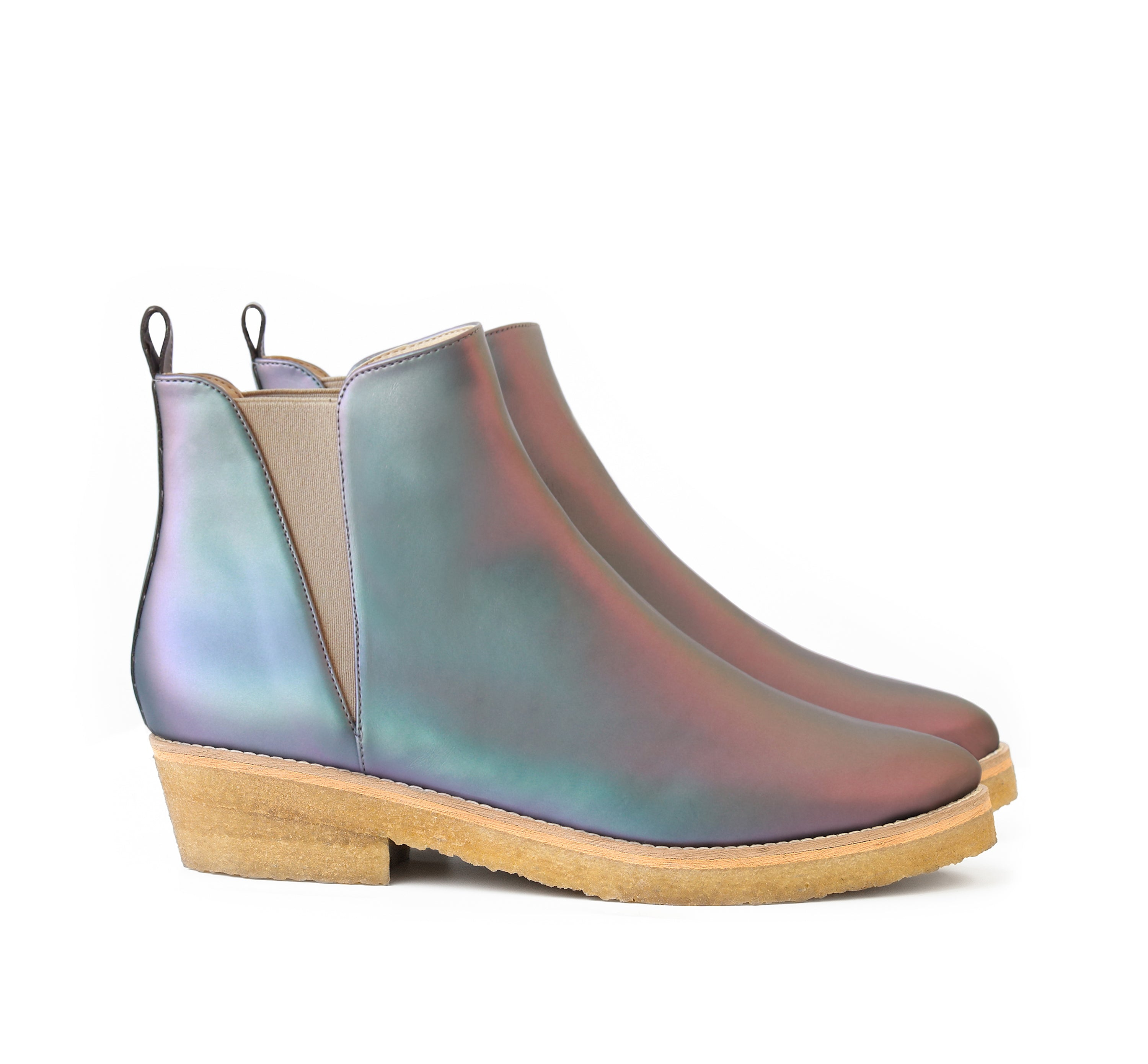 Crepe Ankle Boot in Matte Iridescent faux-nappa, breathable lining with natural rubber crepe sole. Luxury vegan shoes. Sydney Brown Spring Summer 2019. Sustainable, eco-friendly SS19 fashion