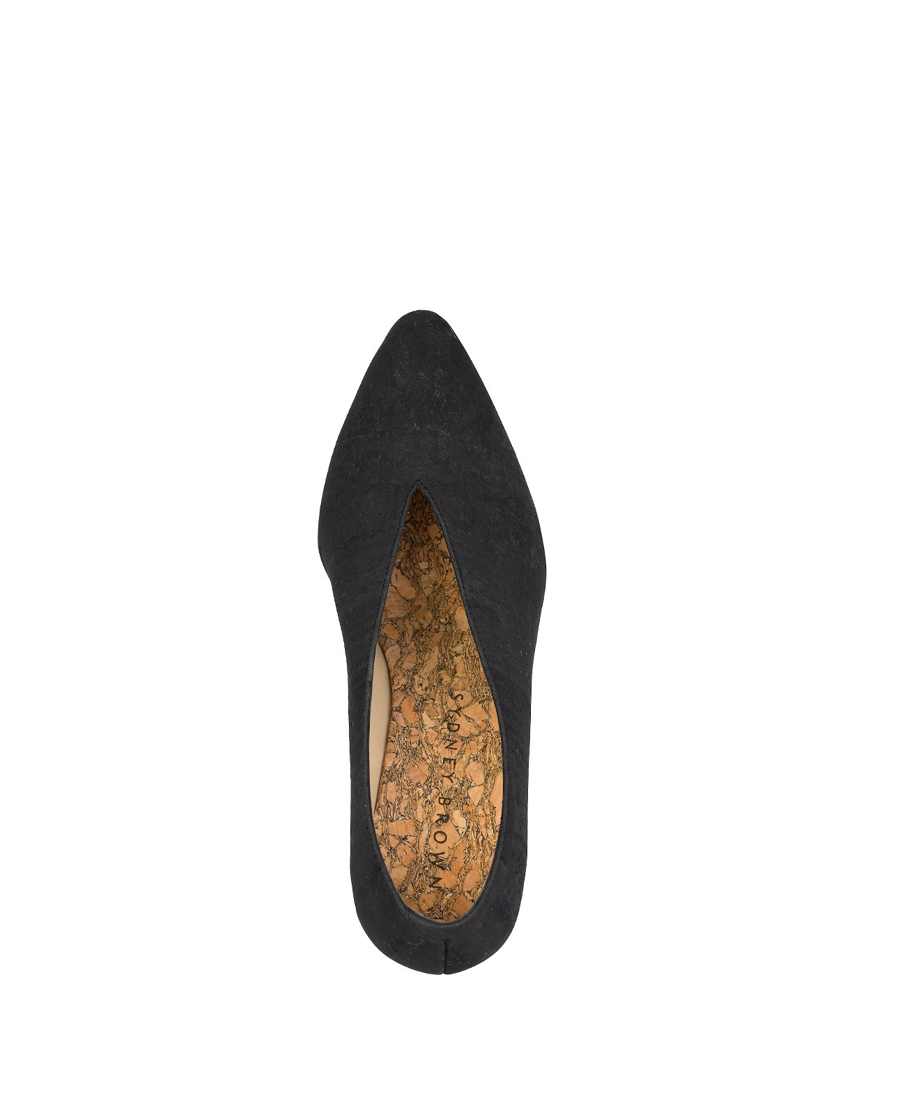 Sydney Brown Vegan, Animal-Free, Non-Leather, Ethical Classic V-Wedges in Charcoal Black Cork, Pointy V-Shape Wedges, Low Heel.