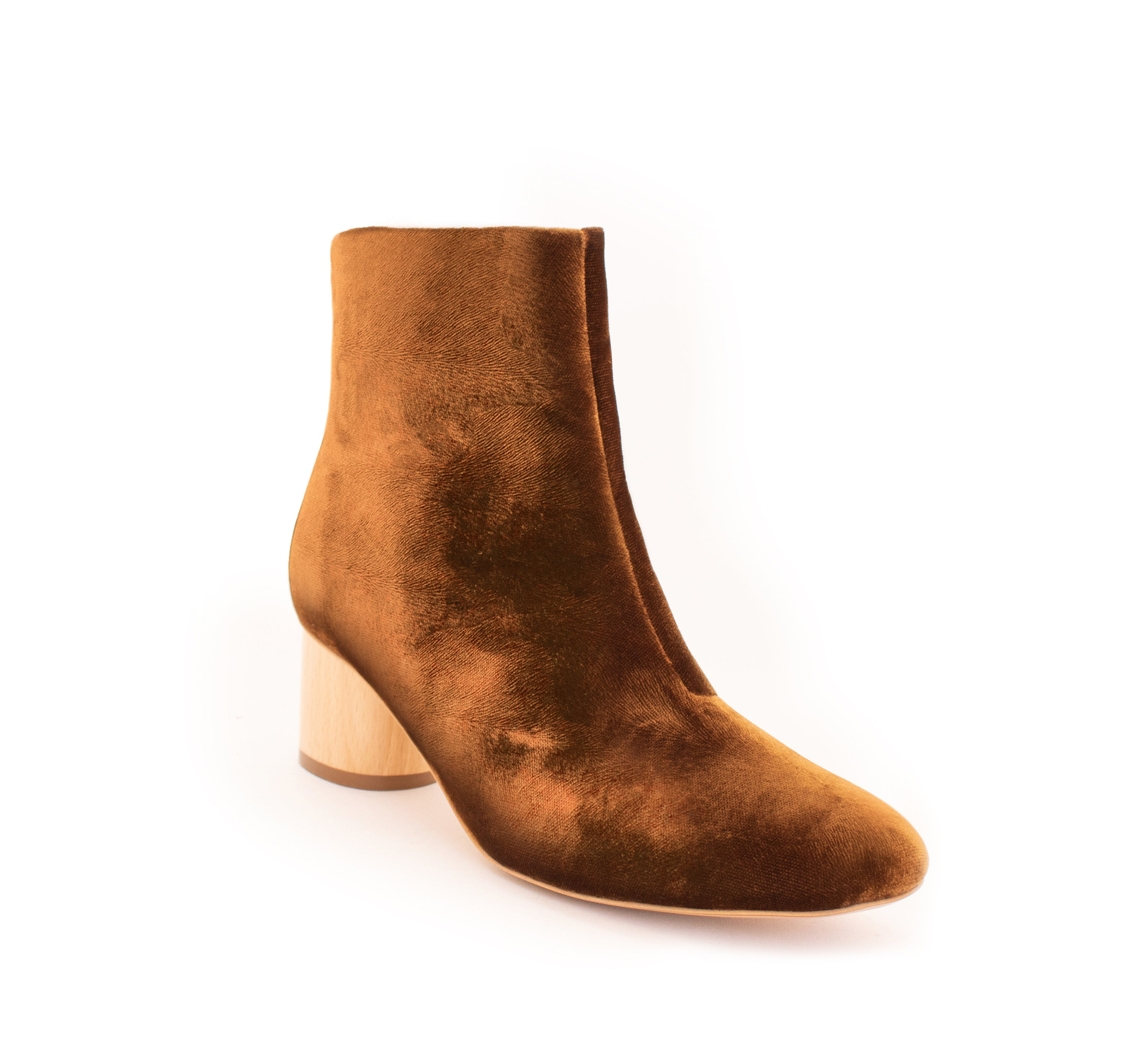 Low Ankle Boot Amber Velvet. Vegan Luxe Ethical Footwear by Sydney Brown. Natural Sustainable Wood Heels. Sustainable & Ethical. Cruelty-Free. Autumn Winter style.