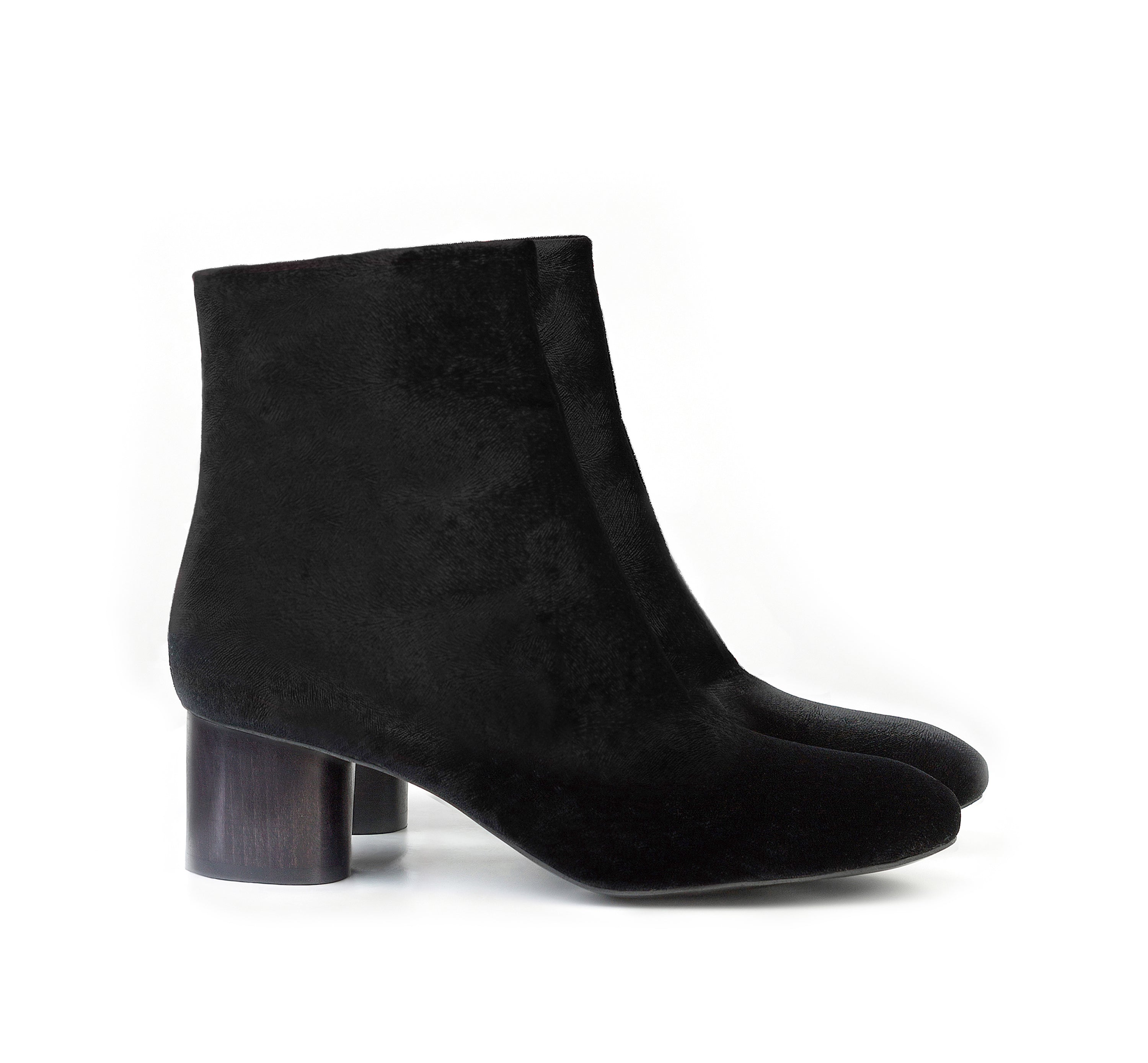 Low Ankle Boot in Black Velvet. Vegan Luxe Ethical Footwear by Sydney Brown. Black Sustainable Wood Heels. Sustainable & Ethical. Cruelty-Free. Autumn Winterstyle.