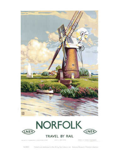 "Norfolk Windmill 24"" x 32"" Matte Mounted Print"