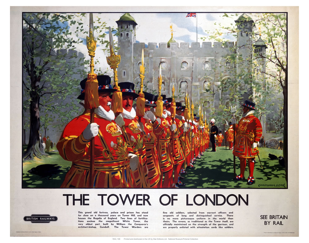 "Beefeaters the Tower of London 24"" x 32"" Matte Mounted Print"