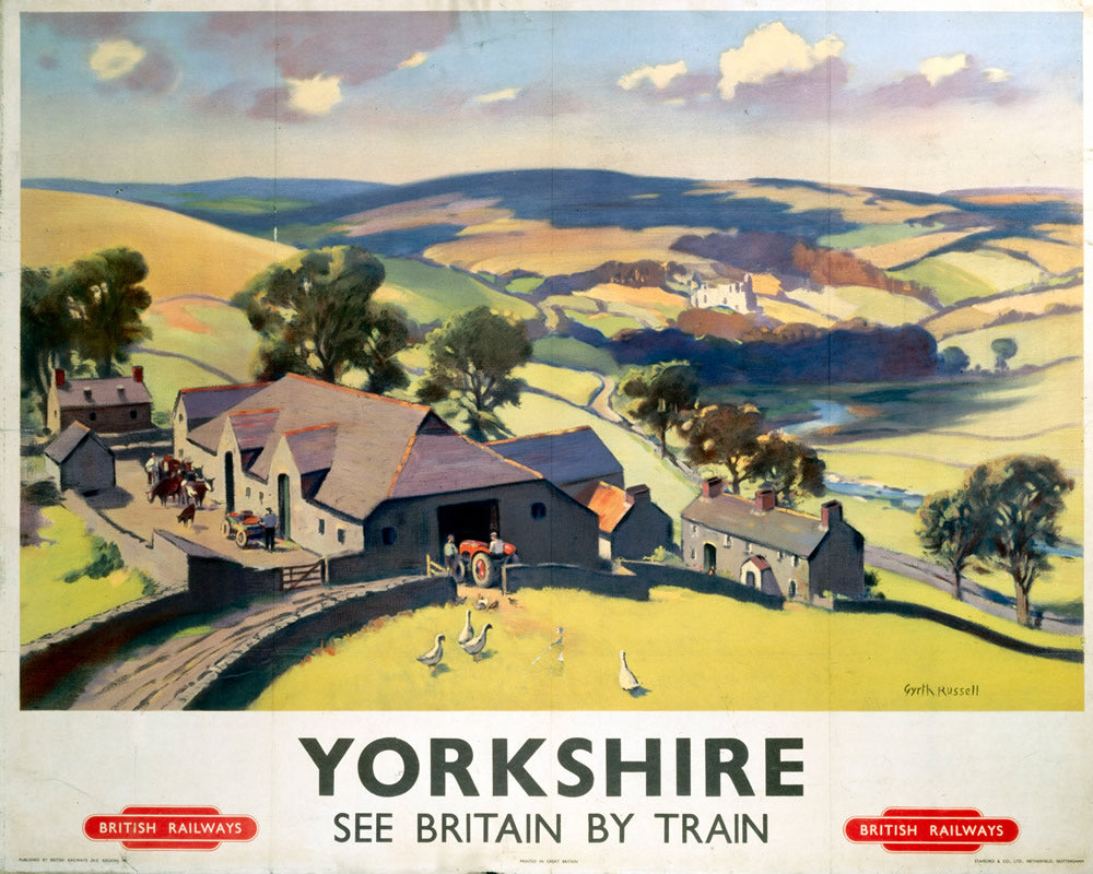 "Yorkshire See Britain by Train 24"" x 32"" Matte Mounted Print"