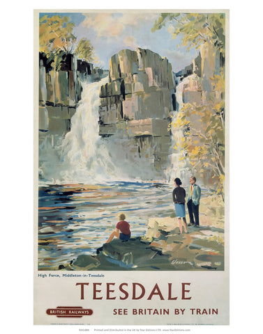 "Teesdale - Middleton-in-Teesdale Waterfall 24"" x 32"" Matte Mounted Print"