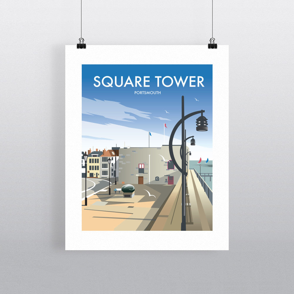 "THOMPSON287: Square Tower, Portsmouth 24"" x 32"" Matte Mounted Print"