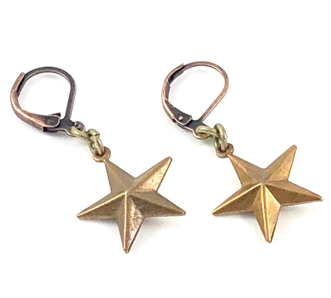 Vintage Finding Earrings - Puffy Star