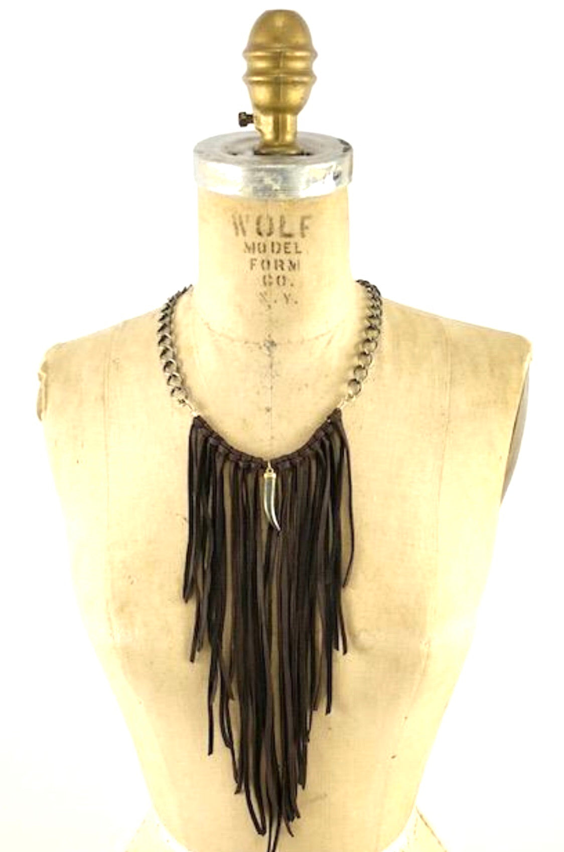 Leather Fringe Necklace with Pyrite Horn