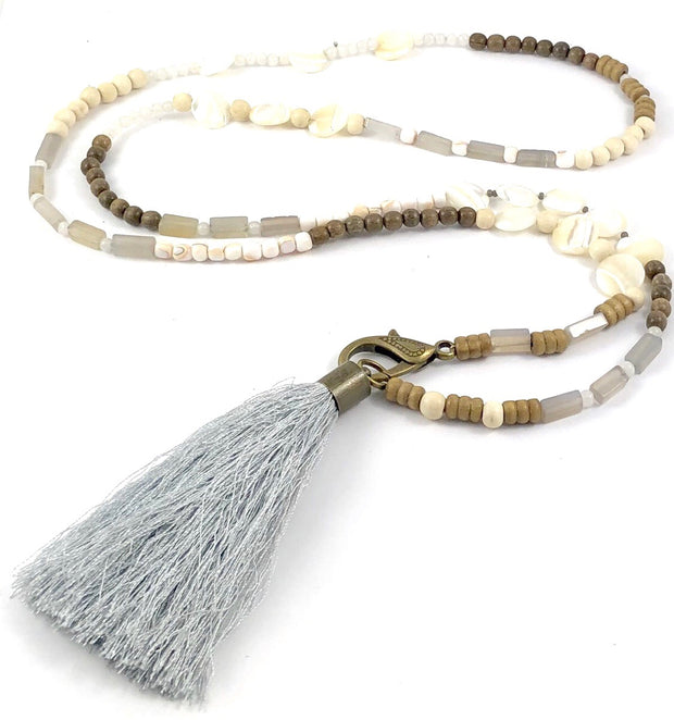 Beaded Lariat Necklace with Silk Tassel