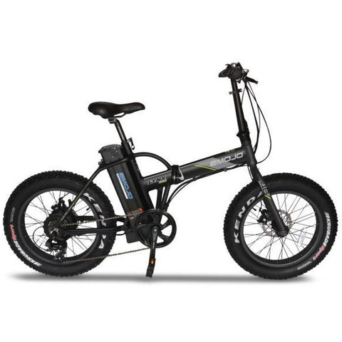 Black and Black EMOJO Lynx Pro - Fat Tire Folding Electric Bike - Side View