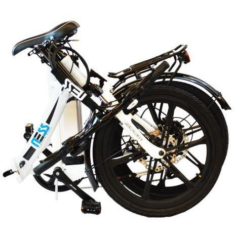 Black Ness Icon Folding Electric Bike - Folded
