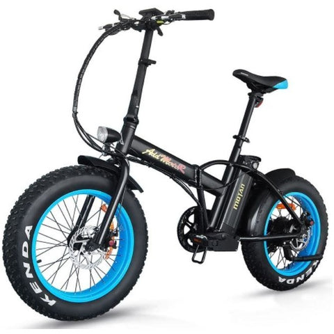 Blue AddMotor Motan M150 - Folding Fat Tire Electric Bike - Front View