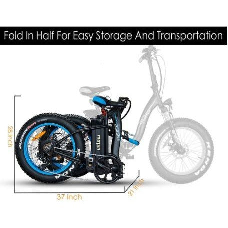 Blue AddMotor Motan M140 - Folding Fat Tire Electric Bike - Folded