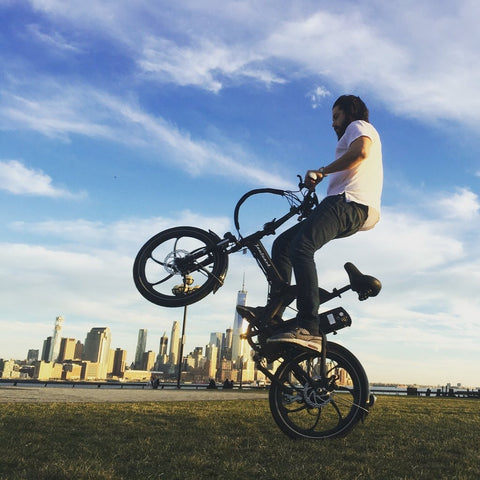 Joulvert Mercer - Folding Electric Bike - Popping a wheelie