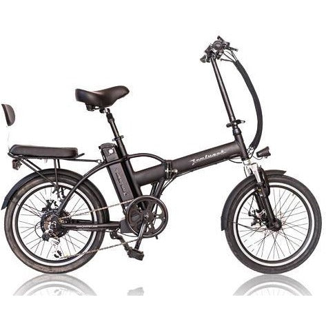 Black Joulvert Playa Journey - Folding Electric Bike - Side View with Rear Seat