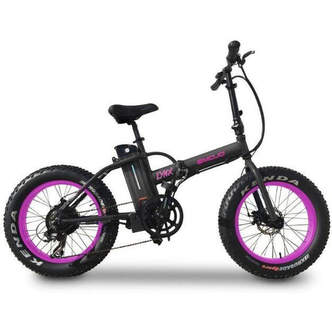 Black and Pink EMOJO Lynx - Fat Tire Folding Electric Bike - Side View