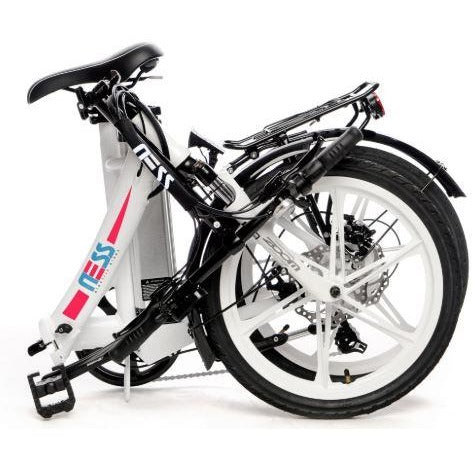 White w/ Pink Highlight Ness Icon Folding Electric Bike - Folded