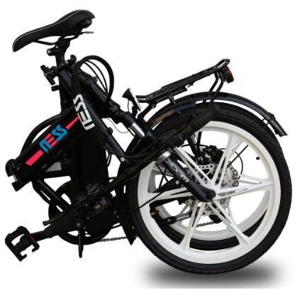 Black w/ Pink Highlight Ness Rua Folding Electric Bike - Folded