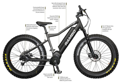 Rambo 750W XTreme Carbon - Fat Tire Electric Mountain Bike
