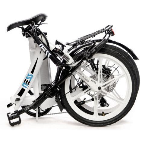 White Ness Icon Folding Electric Bike - Folded